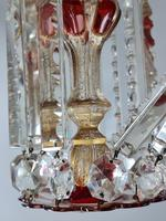 Magnificent Pair of Mid 19th Century Candle Lustres 'Possibly Baccarat' Gilded & Ruby Decoration (8 of 18)