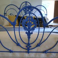 Blue Curly Iron Victorian Antique Bed (2 of 6)