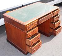 1920s Solid Mahogany Pedestal Desk with Green Top (3 of 4)