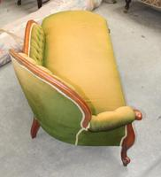 1940's Mahogany Framed Chaise in Green Upholstery. Good Shape (2 of 3)