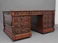 19th Century Carved Oak Partners Desk (9 of 17)