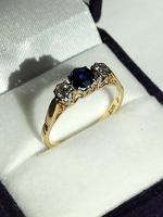 Art Deco 18ct Gold Platinum Sapphire Diamond Trilogy Ring (3 of 11)