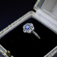 Antique Blue Sapphire & White Sapphire 9ct Gold Cluster Daisy Ring (3 of 10)