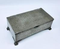 Antique Arts & Crafts Art Deco Hammered Pewter Cigarette Box (2 of 9)