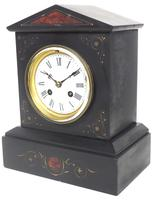 Antique French Slate Mantel Clock 8-Day Striking Mantle Clock with Red Marble & Gilt Decoration (9 of 9)
