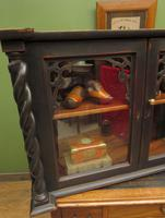 Antique Victorian Gothic Black Painted Curio Display Cabinet (4 of 13)