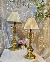 Pair of Brass Lamps with Amber Icicle Drops