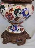 Antique Pottery Oil Lamp & Shade Globe (4 of 12)