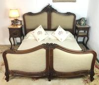 Antique French Bespoke Carved & Upholstered Extra Large Bed Frame (3 of 16)