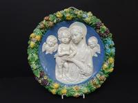 Cantagalli Large Round Plaque Arts & Crafts Style c.1890 (4 of 6)