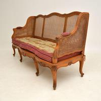 Antique French Carved Walnut Bergere Sofa (3 of 15)