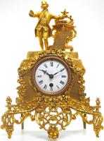Superb Timepiece Mantle Clock -  Antique 8 Day French Poet Figural Ormolu Mantel Clock (2 of 11)