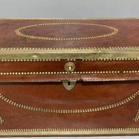 Unusual red leather and brass bound camphor trunk chest (5 of 10)
