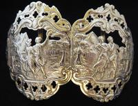 Large Victorian 1897 Hallmarked Solid Silver Nurses Belt Buckle Music & Dancing Design
