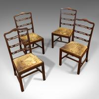 Set of 4, Antique Ladder Back Chairs, Irish, Mahogany, Dining Seat, Victorian (5 of 11)
