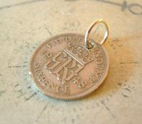 Vintage Pocket Watch Chain Fob 1948 Lucky Silver Sixpence 6d Coin Fob (4 of 7)
