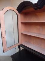 Trendy Art Deco Black 2 Door Pine Arched Glazed Kitchen Dresser (3 of 10)
