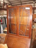 Oak Lead Glazed Bureau Bookcase (2 of 4)