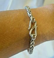 "Vintage Silver 925 Popcorn Bracelet 1970s Big Shepherds Hook Clasp 7 3/4"" Length (10 of 11)"