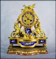 Fine Ormolu Porcelain Cherub Mantle Clock