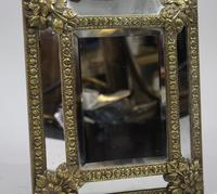 Small 19th Century French Repoussé Brass Cushion Mirror (5 of 7)