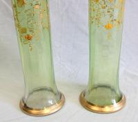 Antique Pair Moser Karlsbad Tall Green Glass Vases (4 of 10)