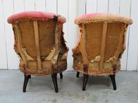 Pair of Antique Fireside Slipper Chairs for re-upholsery (7 of 9)