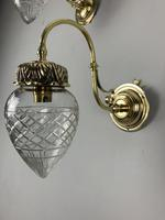Pair of Edwardian Cut Glass Brass Wall Lights, Rewired (10 of 11)