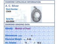 Mother of Pearl & 0.45ct Diamond, Platinum Pendant - Antique c.1920 (7 of 9)