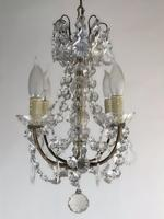 Vintage French Petite Chandelier 4 Arm Crystal Ceiling Light (2 of 6)