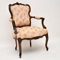 Antique French Carved Walnut Salon Armchair (2 of 10)