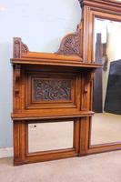 Antique Large Victorian Oak Overmantle Wall Mirror (3 of 9)