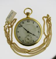 Judex Art Deco Gold Filled Open Face Pocket Watch with Chain Swiss 1925