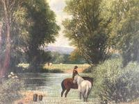 Original Oil on Canvas 'watering the Horses' by William Taunton. Signed c.1870 (3 of 4)