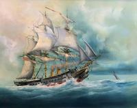 HMS Warrior Under Sail & Steam! - Original 20thc Seascape Oil On Canvas Painting (11 of 13)