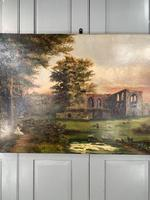 Antique Landscape Oil Painting of Ruined Gothic Abbey with Sheep Signed FCH (3 of 10)
