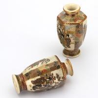 Pair of Small Meiji Period Japanese Satsuma Vases Signed Hododa c1890 (7 of 10)