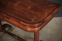 Rare Regency Rosewood Brass Inlaid Card Table (8 of 15)