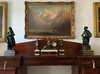 Beautiful 19thc French 3-piece 8-day Gilt-bronzed Spelter Garniture Mantle Clock (3 of 16)