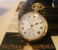 Antique Waltham Pocket Watch 1909 Ladies 7 Jewel 9ct Gold Filled Case With Curious Inscriptions Fwo (3 of 12)