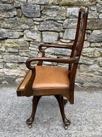 Antique Mahogany Swivel Office Desk Chair (3 of 12)