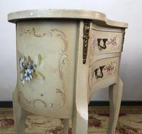 Vintage French Shabby Chic Kidney Shaped Floral Bedside Cabinets (3 of 8)