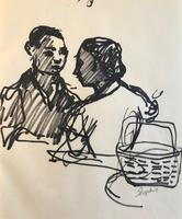 Original black marker pen painting 'A couple and a shopping basket, Perugia Aug 1956' by Toby Horne Shepherd 1909-1993. Signed. 1956.