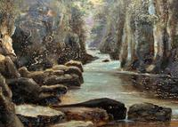 Small Original 19th Century Victorian Woodland River Landscape Oil Painting (7 of 12)