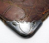 Victorian 1896 Solid Sterling Silver Mounted Crocodile Skin Leather Antique Wallet Purse Case. English Hallmarked (5 of 5)