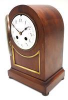 Fine Edwardian Mahogany Balloon Clock Brass Inlay Striking Mantel Clock (5 of 9)