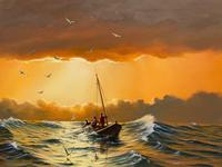 """Seascape Oil Painting """"St Ives Fishing Boat"""" Off Cornwall Coast by Keith English (5 of 36)"""