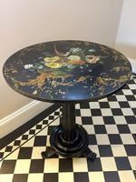 19th Century Ebony Lacquered Papier Mache Tilt-top Table by Jennens & Bettridge