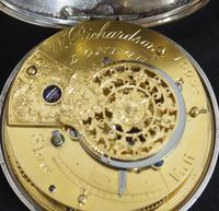 Antique Silver Pair Case Pocket Watch Fusee Verge Escapement Key Wind Enamel Dial Richardson London (12 of 13)