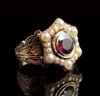 Antique Mourning Ring, 18ct Gold, Enamel, Pearl & Garnet - William IV (6 of 13)